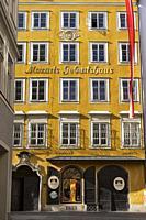 Facade of the house on historic Getreidegasse street where Wolfgang Amadeus Mozart was born in 1756. Salzburg, Austria.