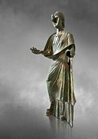 Bronze statue of Roman empress Julia Aquilia Severa found at Sparta. circa 221-222 AD. Athens National Archaeological Museum, Cat No X23321. Against g...