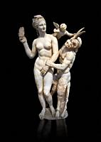 Hellenstic marble statue group of Aphrodite (Venus) with Pan and Eros, Circa 100 BC, House of Poseidonaistai of Beryttos, Delos, Athens National Archa...