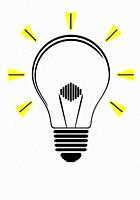 Lightbulb icon in black color isolated on white background illustration.