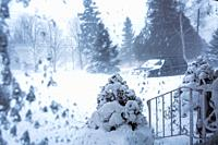 view from window showing blowing snow and strong winds, Meaford; Ontario; Canada.