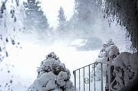 view from window showing blowing snow and strong winds. Meaford; Ontario; Canada.
