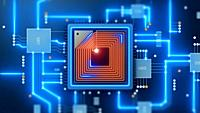 CPU processing. Data transfer integrated microchip. Digital network and computing.