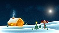 Merry Christmas wish card background template. Falling snow with a snowy cottage.
