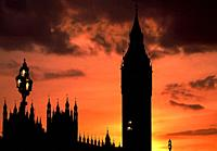 Silhouette of The Big Ben. Houses of Parliament. London. United Kingdom.