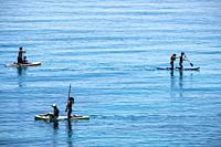 Paddle surf in Portals Vells, Calvia, Mallorca, Balearic Islands, Spain.
