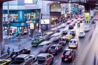 Traffic jump. Siam Square. Bangkok. Thailand.