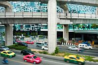 Multiple lane highway. Siam Square. Bangkok. Thailand.