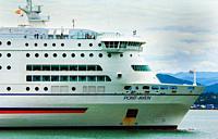 Brittany Ferries MV Pont Aven arriving in Santander, Spain.