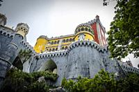 Most beautiful castles of Europe - Pena palace in Lisbon, Portugal.