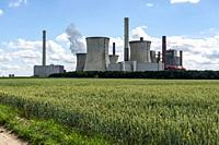Grevenbroich-Neurath, Germany. The two brauncoal fuelled Kraftwerk Neurath Electrical Powerplant. The oldest one is Decommissioned and Idle after repl...