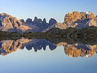 The summits of Brenta mountain range are reflected in Lago Nero. Brenta group in the Dolomites, part of UNESCO world heritage The Dolomites. Europe, I...