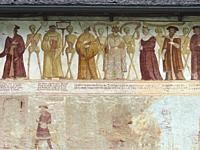 Church San Vigilio and fresco Danza Macabra ( Danse Macabre or Dance of Death ) by Simone Baschenis dating back to 1539, Pinzolo, Val Rendena in Italy...
