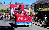 The Tour de France 2015 - Stage 7 - Livarot (Normandy) to Fougères (Brittany) The Caravan passes through Lassay-les-Chateaux, Pays de la Loire ahead o...