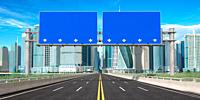 Blank road signs on a highway to city downtown with skyscrapers. 3d illustration.