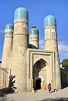 Uzbekistan, Unesco World Heritage Site, Bukhara, Chor Minor (Char Minar), Former gatehouse of a destroyed madrasa (19th C).