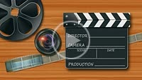 Film reel, lens camera with movie clapper on wooden desk. 4K UHD animated introduction video.