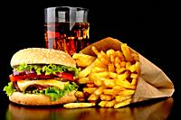 chicken burger with fries, tomato, lettuce and cheese
