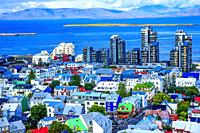 Harbor Entrance Colorful Red Green Blue Houses Houses Apartment Buildings Cars Bus Streets Ocean Reykjavik Iceland.