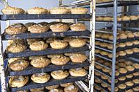 Fresh made magdalenas on rack, delicious traditional pastries from Hornachos, Extremadura, Spain. Closeup.