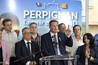 French municipals elections in PERPIGNAN south of France, second ballot between the ougoing mayor Jean-Marc PUJOL (LesREPUBLICAINS) right and Louis AL...