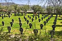 Tombstones in the German Soldiers Cemetery in Cuacos de Yuste, Extremadura (Spain)