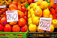 Boxes of Royal and Golden apples in the Sarrià market, Barcelona, ??Catalonia, Spain