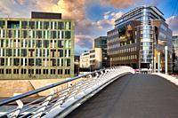 Kronprinzenbrücke, Buildings around Spree river, Berlin, Germany.