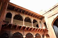 Agra Fort, the former imperial residence of the Mughal Dynasty, It was used to hold Shah Jahan under house arrest by his son Aurangzeb. Agra, India.