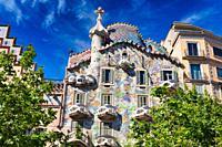 Casa Batlló by Antoni Gaudí architect 1904-1906. Passeig de Gracia. Barcelona. Catalonia. Spain.