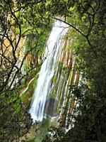 Mir cascade, 35m high, at Foradada stream, after spring storms. Santa Maria de Besora village countryside. Osona region, Barcelona province, Catalonia...