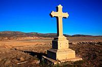 Cross in the hermitage of the Virgen del Buen Recuerdo. Wildlife reserve of Gallocanta. Zaragoza province. Spain.