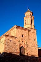 Virgin of Assumption church in Berrueco. Wildlife reserve of Gallocanta. Zaragoza province. Spain.