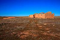 Landscape near the La Zaida lagoon with remains of old house in the wildlife reserve of Gallocanta. Zaragoza province. Spain.