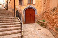 Street in Beceite. Teruel province. Spain.
