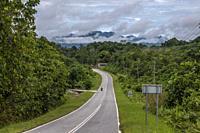 The road to Tebedu town, Sartawak, Malaysia