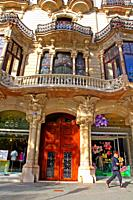 facade of the Casa Malagrida, 1908, Catalan modernism, architect Joaquim Codina i Matalí, Barcelona, ??Catalonia, Spain