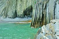 The Flysch in the Itzurun Beach. Zumaia town, Guipuzcoa province, Spain