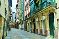 The neighborhood of Siete Calles (the Seven Streets), the historical Downtown. Bilbao city, Vizcaya province, Spain