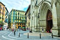 The St. James Cathedral in the neighborhood of Siete Calles (the Seven Streets), the historical Downtown. Bilbao city, Vizcaya province, Spain