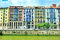 The riverside of La Ria or the river Nervion in the historical Downtown. Bilbao city, Vizcaya province, Spain