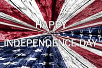4th of July, Independence Day background with american flag over wooden texture.