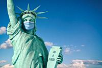 Coronavirus COVID 19 in USA United States. Statue of Liberty in face medical mask. Support of american doctors. 3d illustration.