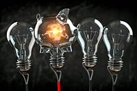 Piggy bank iand light bulbs in a row. Business investment or savings concept background. 3d illustration.