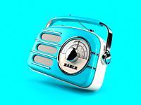 Blue vintage radio on blue background. 3d illustration.