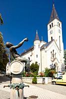 central square in Tokaj, Hungary.