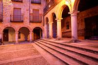 Plaza Mayor in Sigüenza with the arches of the town hall building. Guadalajara.