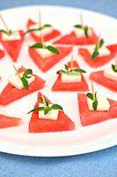 Closeup Slices of Red Watermelon and Cheese.