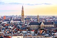 Aerial high angle view landscape of Antwerp cityscape with cathedral of Our Lady, Antwerpen Belgium sunset. EU Begium city landmark for tourism and tr...