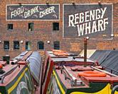 Narrowboats at Regency Wharf , Broadstreet, Birmingham.